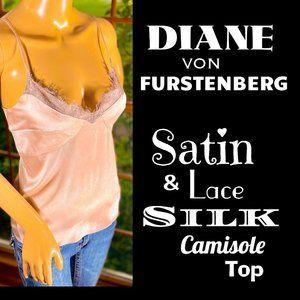 ▪️DVF▪️Blush & Grey Satin & Lace Silk Camisole Top